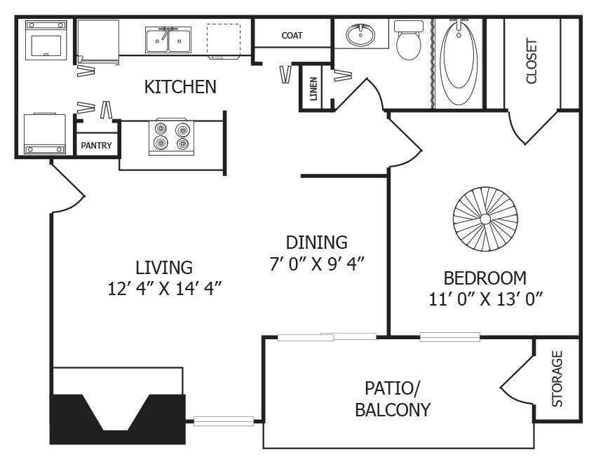 684 sq. ft. A4 floor plan