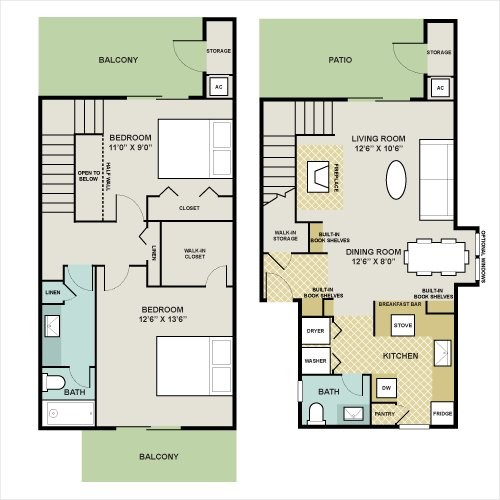 1,069 sq. ft. WEST-C floor plan