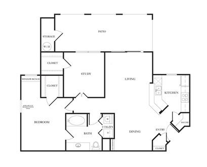 962 sq. ft. B1 floor plan