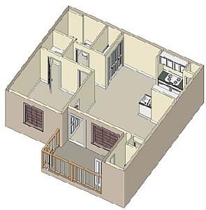 672 sq. ft. 60% floor plan