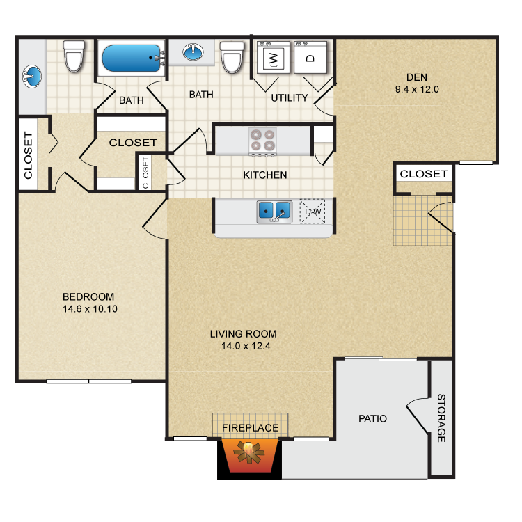 973 sq. ft. A4 floor plan