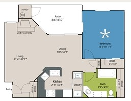 744 sq. ft. A1 floor plan