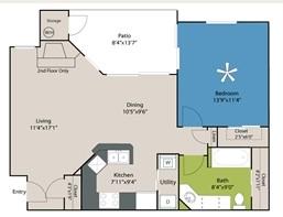 744 sq. ft. A1 floor plan