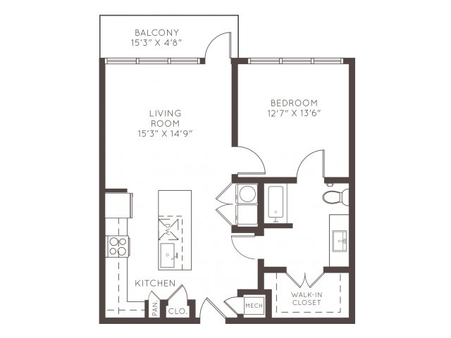 840 sq. ft. A4A floor plan