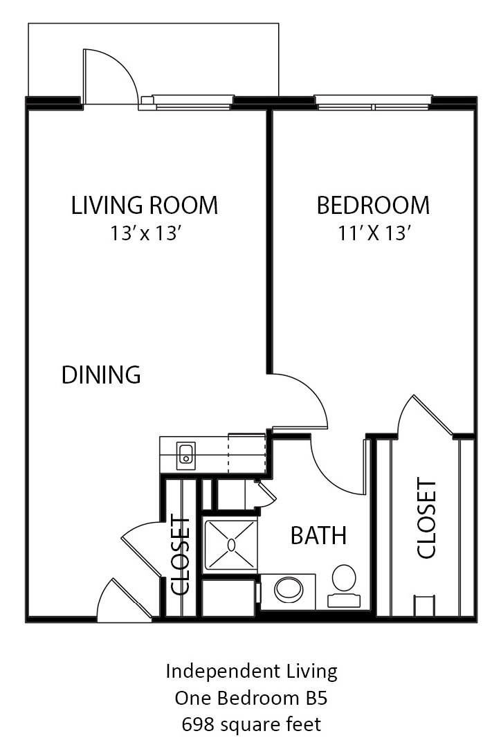 698 sq. ft. B4 floor plan