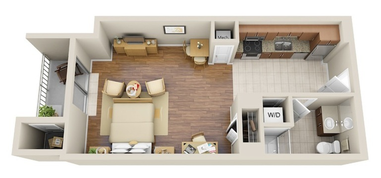 534 sq. ft. Studio 1 floor plan