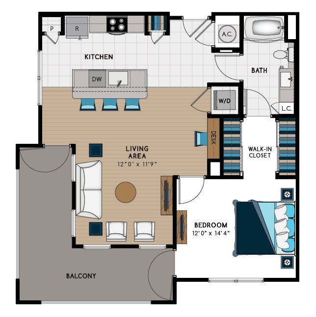 901 sq. ft. 1E floor plan