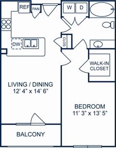 691 sq. ft. Cambridge floor plan