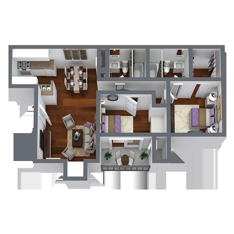 883 sq. ft. B1 floor plan