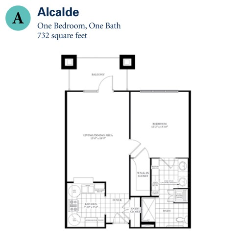 732 sq. ft. Alcalade floor plan
