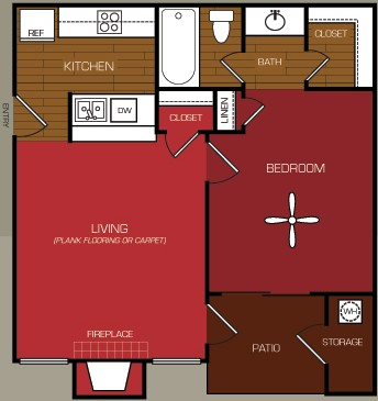 511 sq. ft. A1 floor plan