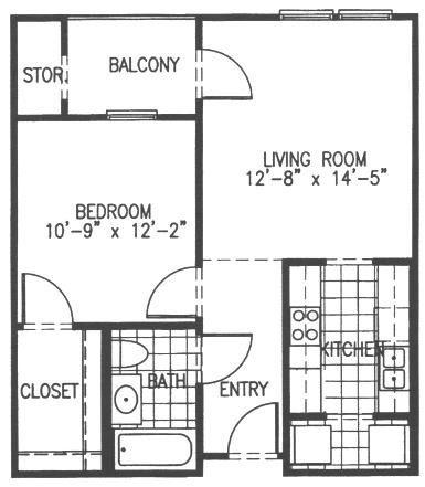 664 sq. ft. A3 floor plan