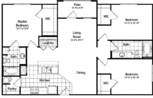 1,350 sq. ft. floor plan