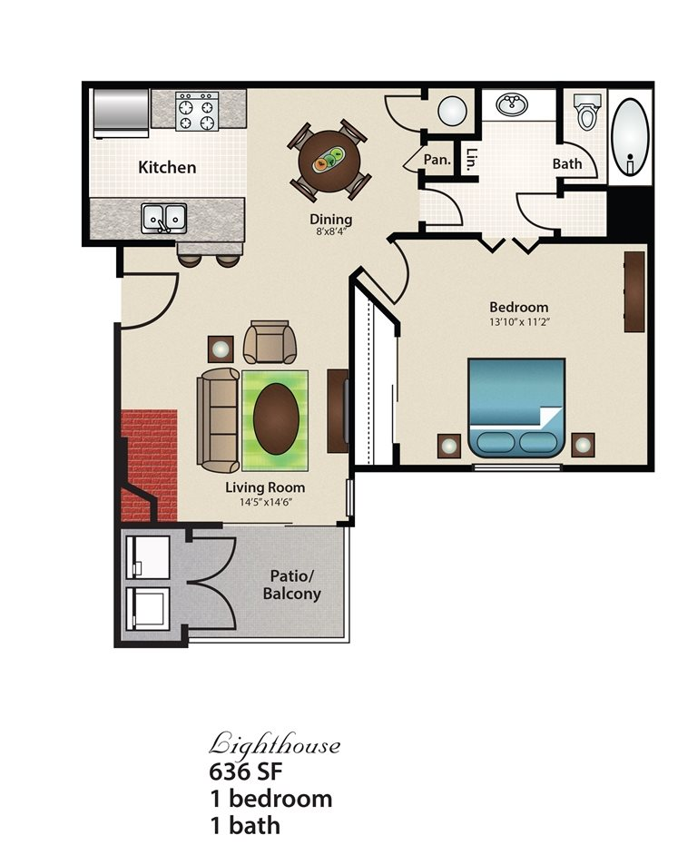 636 sq. ft. Lighthouse floor plan