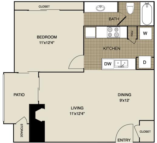 622 sq. ft. A3 floor plan