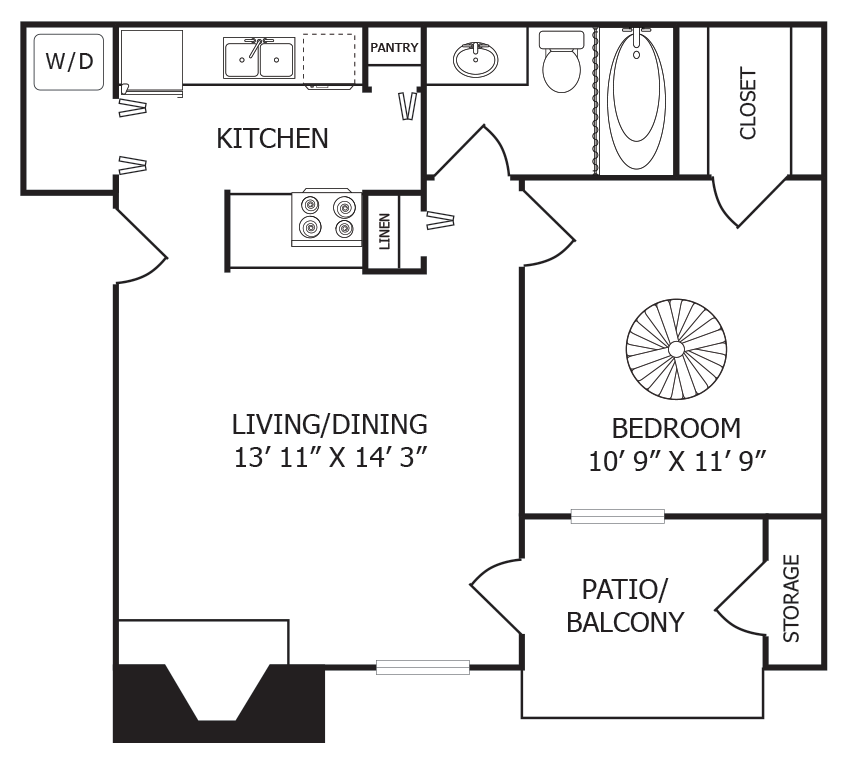 570 sq. ft. A1 floor plan