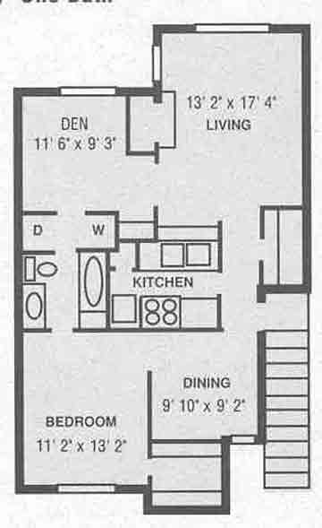 900 sq. ft. A-4 floor plan