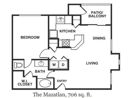 706 sq. ft. Mazatlan floor plan