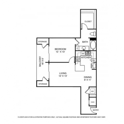 819 sq. ft. A7 floor plan