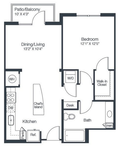 734 sq. ft. A2E floor plan