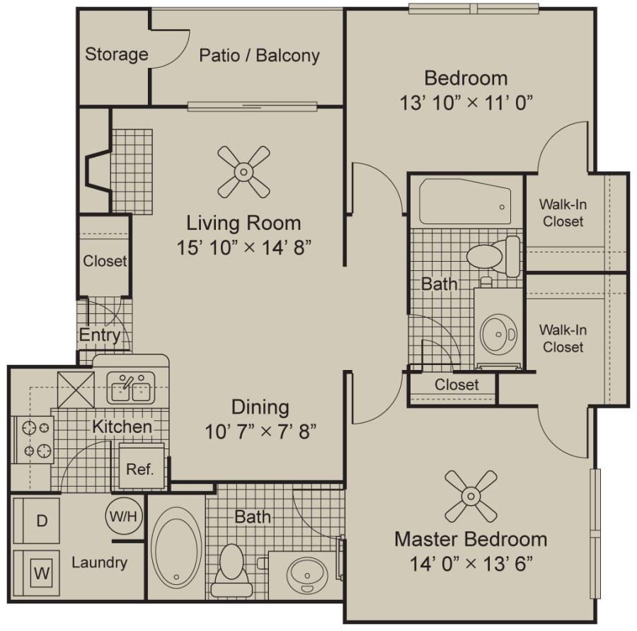 1,110 sq. ft. B1.1 floor plan