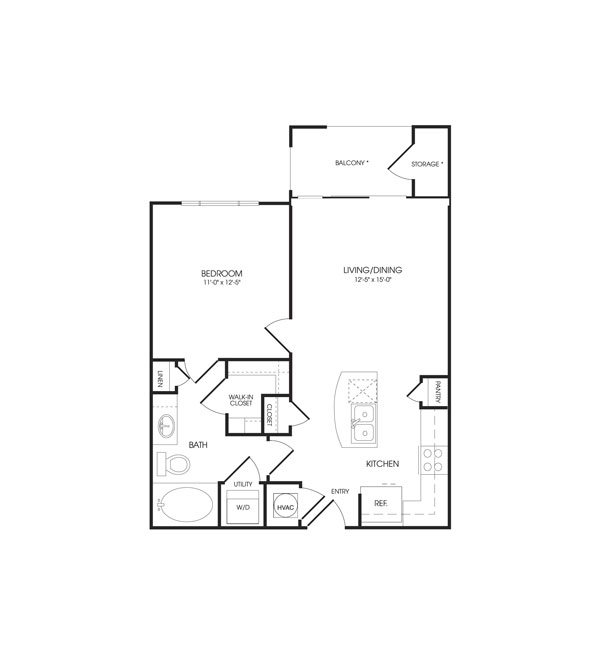 664 sq. ft. Empire floor plan