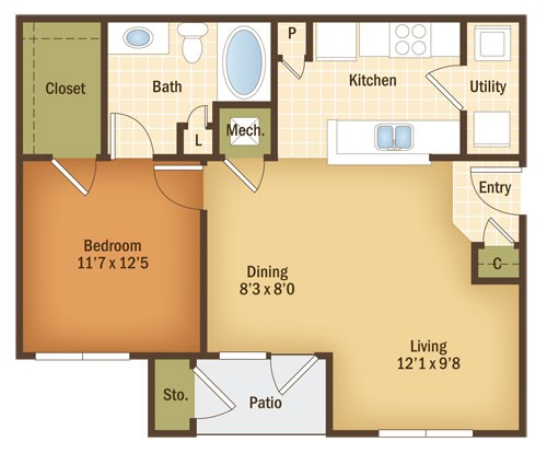 786 sq. ft. Willow floor plan