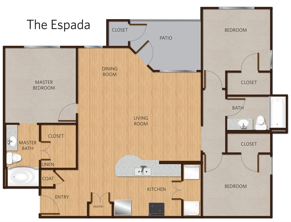 1,252 sq. ft. Espada C1 floor plan