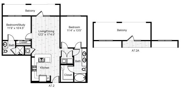 906 sq. ft. B4 floor plan