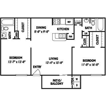 1,000 sq. ft. BELLAGIO floor plan