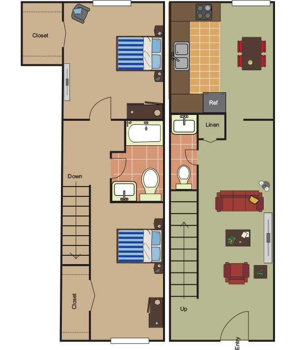 990 sq. ft. B-2 floor plan
