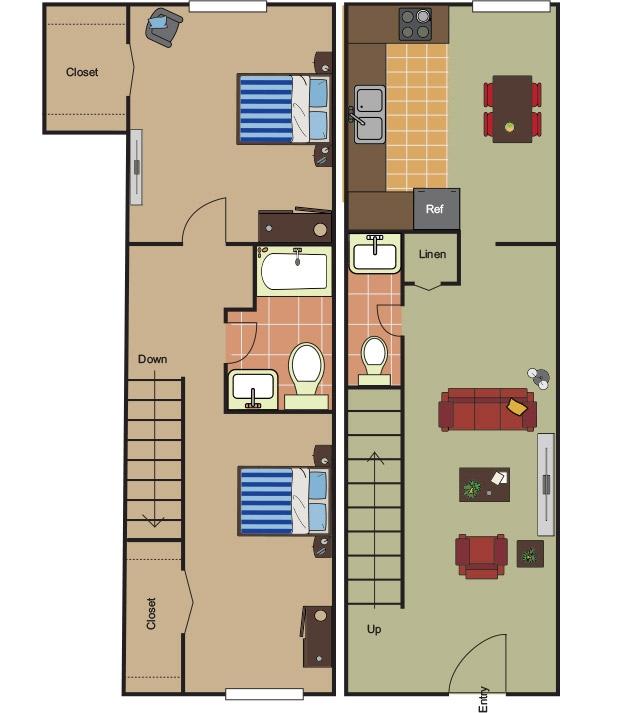 990 sq. ft. B-2 floor plan
