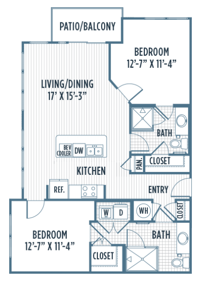 1,090 sq. ft. B4 floor plan