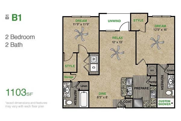 1,103 sq. ft. B1.1 floor plan