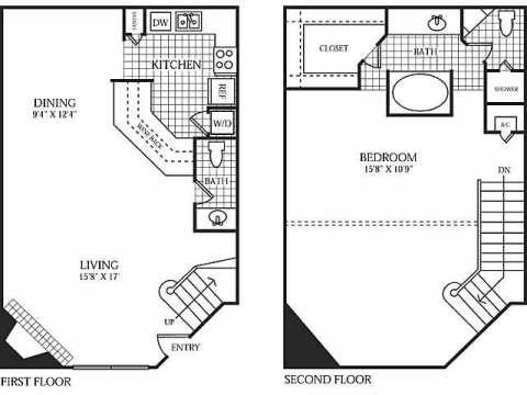 1,200 sq. ft. C floor plan