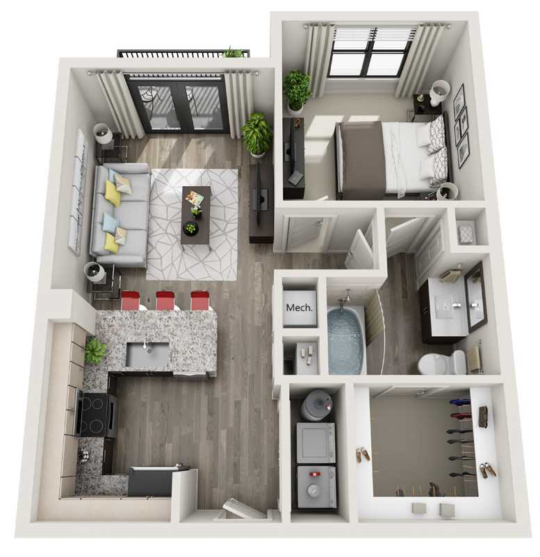 648 sq. ft. to 665 sq. ft. A1 floor plan