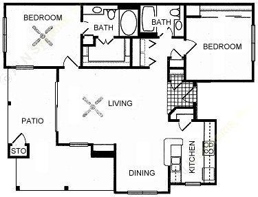 1,088 sq. ft. GRAND floor plan