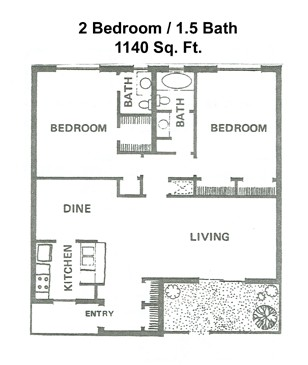 1,140 sq. ft. floor plan