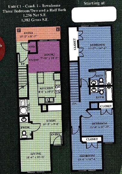 1,256 sq. ft. C1 30% floor plan