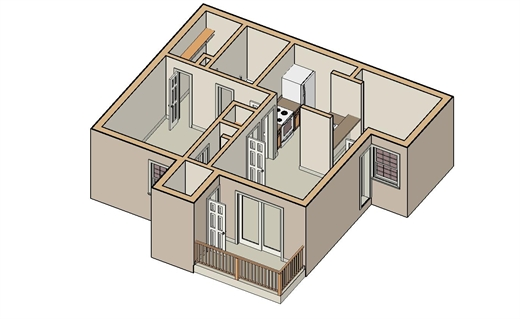 630 sq. ft. A-3 floor plan