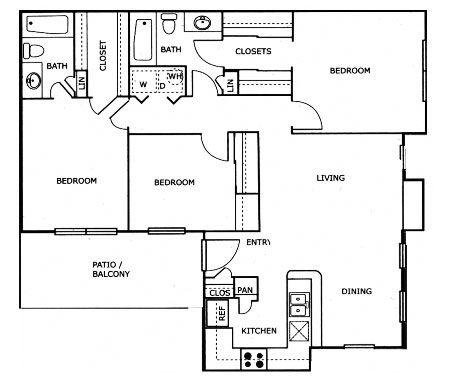 1,220 sq. ft. C1 floor plan