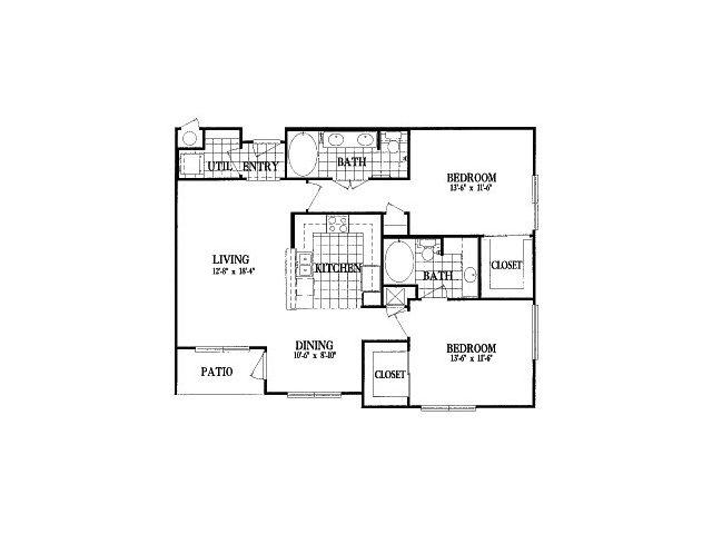 1,215 sq. ft. B6 floor plan