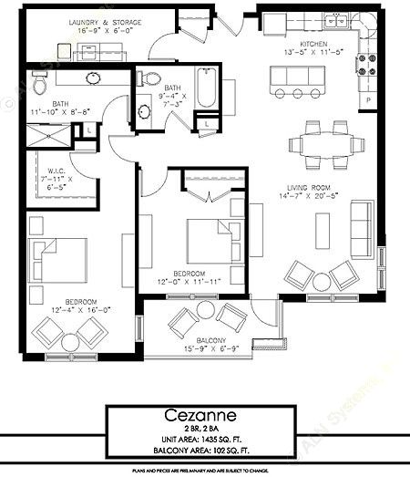1,435 sq. ft. Cezanna floor plan