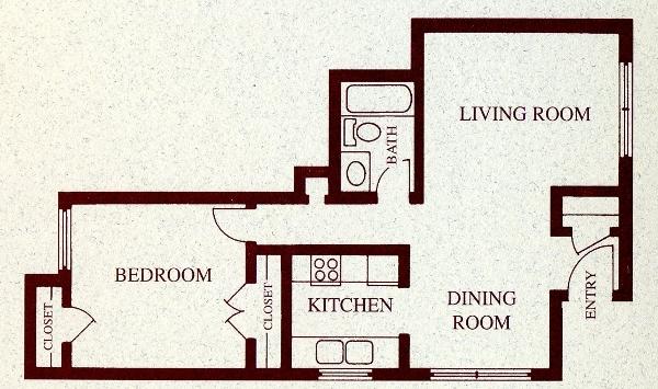 709 sq. ft. A floor plan