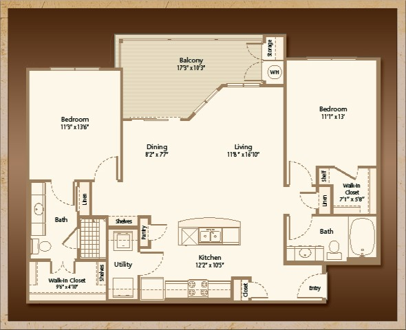 1,155 sq. ft. B2A floor plan