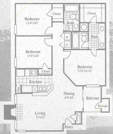 1,082 sq. ft. II floor plan