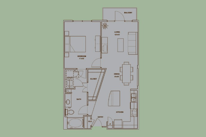 822 sq. ft. A4 floor plan