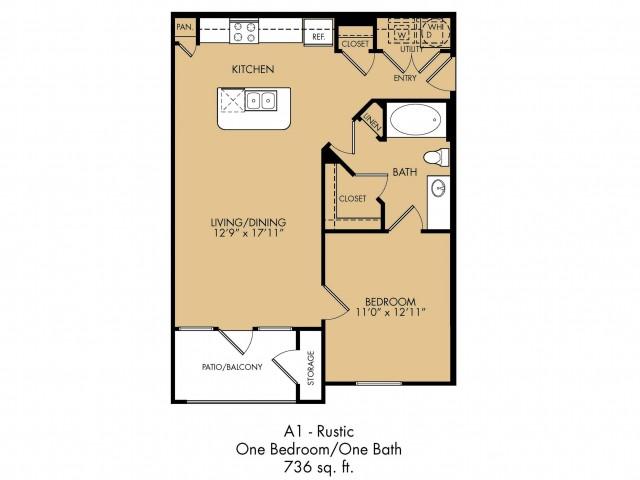 736 sq. ft. Brook floor plan