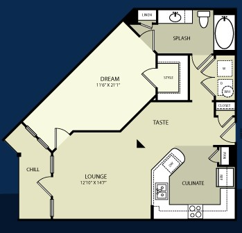 786 sq. ft. A2 floor plan