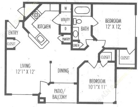 838 sq. ft. B1 floor plan